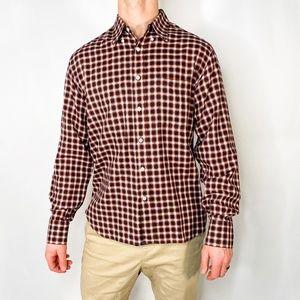 BILLY REID Standard Cut Red Plaid Button Shirt